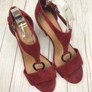 TAHARI 'Norma' Suede Leather Heel Sandal Size 9